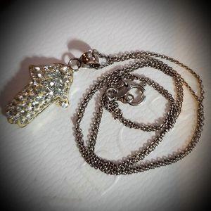 """Hamsa necklace, italian sterling silver chain 18"""""""